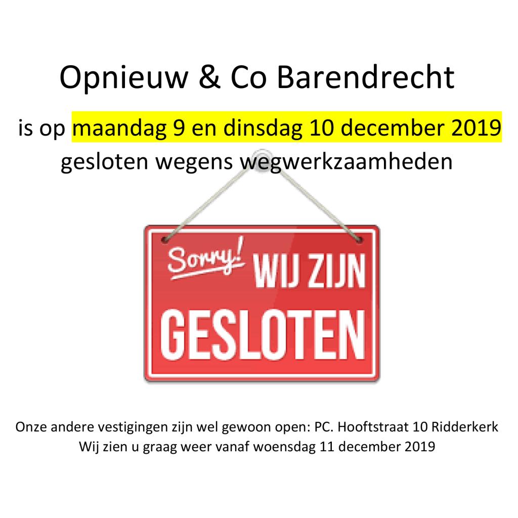 Opnieuw & Co Barendrecht gesloten